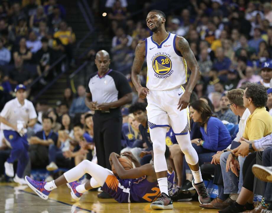 Golden State Warriors' Alfonzo McKinnie reacts to being called for a foul in 1st quarter against Phoenix Suns during NBA preseason game at Oracle Arena in Oakland, Calif. on Monday, October 8, 2018. Photo: Scott Strazzante / The Chronicle