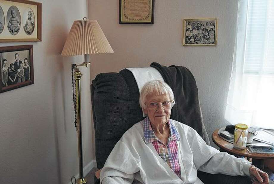 Mary Ellen English, 102, is a former teacher and a longtime resident of Knollwood Village.