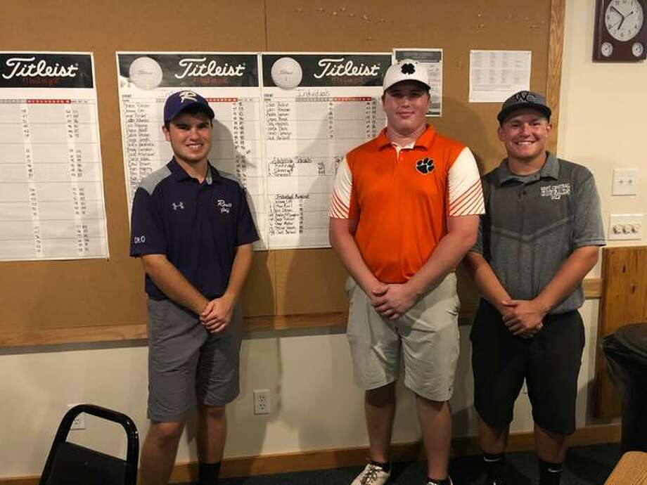 Colin Dobson (left), Chase Philer, and Braden McLaughlin all took their place with a score of 78 at the IHSA sectional Monday at Aledo. The trio will advance to state. Photo: Photo Submitted