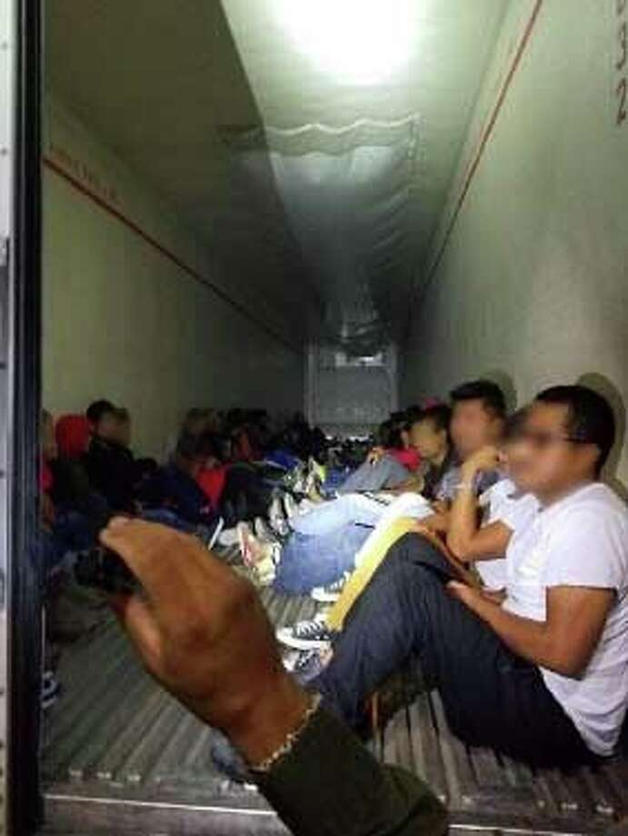 Border Patrol agents said they found 43 undocumented immigrants Sunday in a tractor-trailer. Photo: Border Patrol