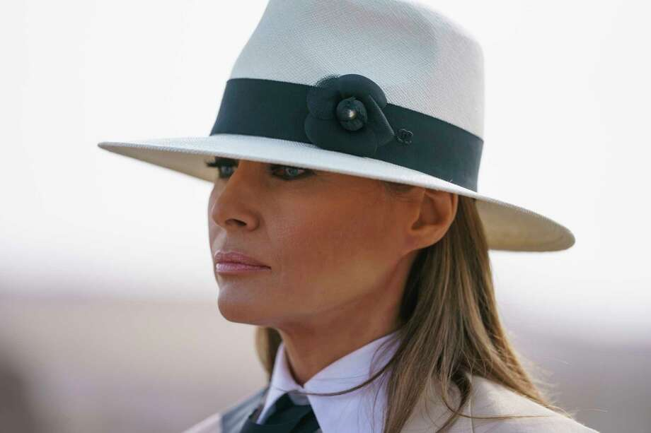 First lady Melania Trump pauses as she speaks to media during a visit to  the historical 1c0be5ab926