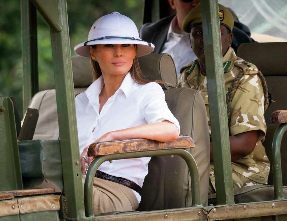 First lady Melania Trump on a safari at Nairobi National Park in Nairobi, Kenya, on Friday, Oct. 5, 2018. A half a world away from the spectacle of Washington, the first lady still managed to create one of her own on Friday, riding out into the grassland wearing a crisp white pith helmet -- a common symbol of European colonial rule. (Doug Mills/The New York Times) Photo: DOUG MILLS, NYT / NYTNS