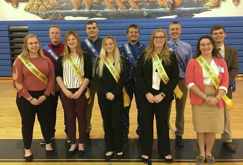 Members of the North Huron Homecoming court are (front row from left): Makenzie Leavine, Olyvia Majeski, Grace Wiley, Amber Emming and Liz Trudeau; (Back row): Codey Kozfkay, Dylan Koehn, John Hoody, Ty Knoblock and Brayden Schpinski. (Submitted Photo)
