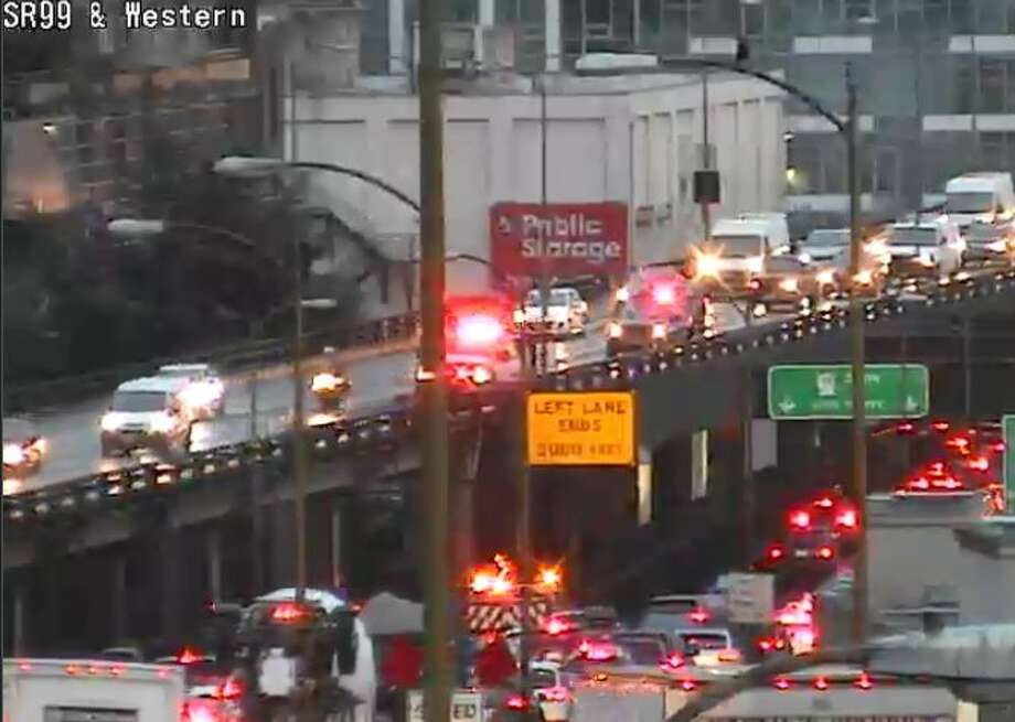 Traffic was backed up Tuesday morning after a crash on the Alaskan Way Viaduct. Photo: Courtesy SDOT