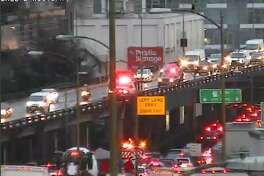 Traffic was backed up Tuesday morning after a crash on the Alaskan Way Viaduct.