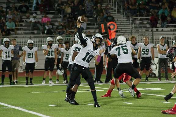 Clear Falls' Gavin Esquivel (10) throws a pass in the flat against Clear Brook Friday at Challenger Columbia Stadium.