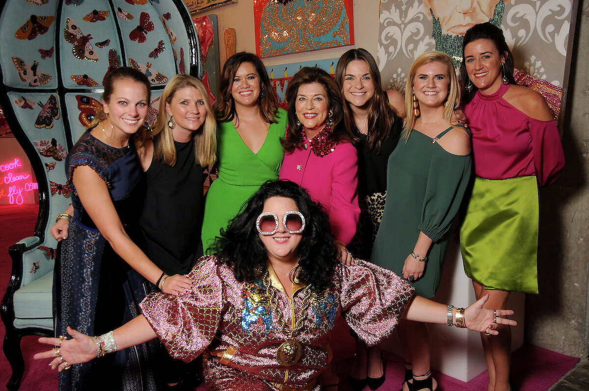 Artist Ashley Longshore with the Dancie Ware crew at an art sale and party at The Post Oak Hotel Thursday Oct. 04,2018.(Dave Rossman photo)