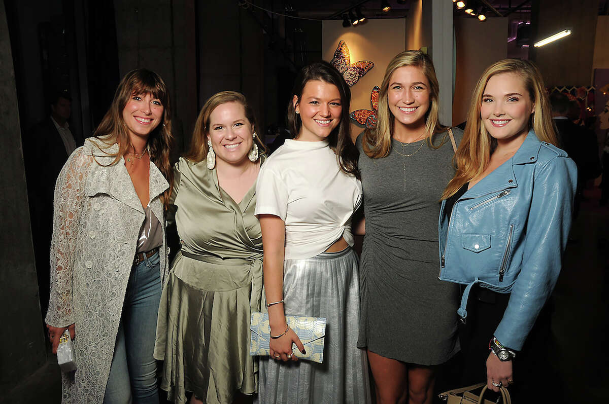 From left: Madison Britt, Georgie Ferrell, Regan Sobiesk, Mary Curry and Reagan Corbett at an art sale and party with Ashley Longshore at The Post Oak Hotel Thursday Oct. 04,2018.(Dave Rossman photo)