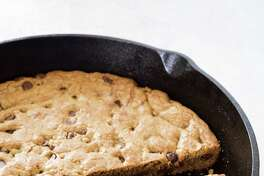 Chocolate chip skillet cookie, top with ice cream for an extra-decadent treat.