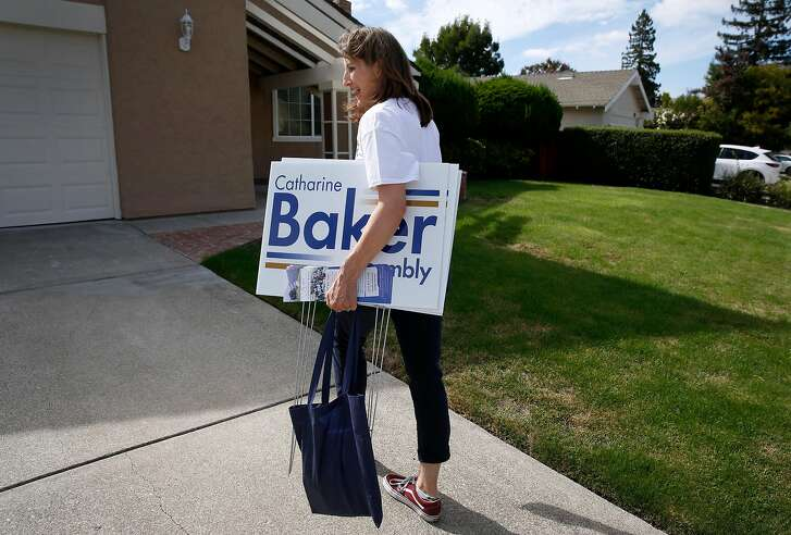 Assemblywoman Catharine Baker approaches a voter�s home while canvassing a neighborhood in San Ramon, Calif. on Saturday, Sept. 29, 2018. The incumbent Republican is facing a challenge for her 16th District seat from Democratic candidate Rebecca Bauer-Kahan.