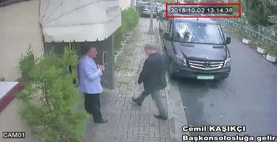 This image taken from CCTV video obtained by the Turkish newspaper Hurriyet and made available on Tuesday, Oct. 9, 2018 claims to show Saudi journalist Jamal Khashoggi entering the Saudi consulate in Istanbul, Tuesday, Oct. 2, 2018.  Photo: CCTV/Hurriyet