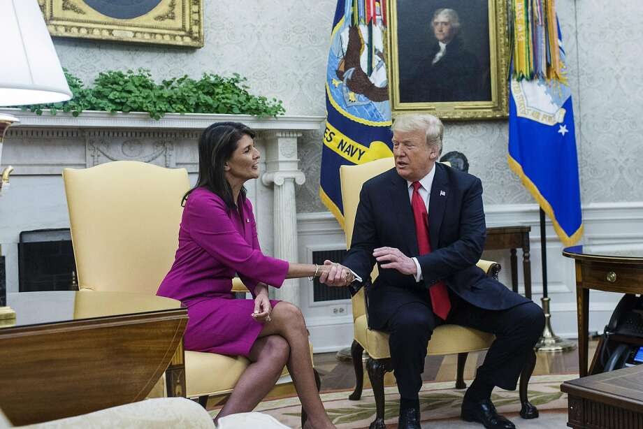 President Trump shakes hands with Nikki Haley, U.S. Ambassador to the United Nations, at the White House. Photo: Zach Gibson / Bloomberg