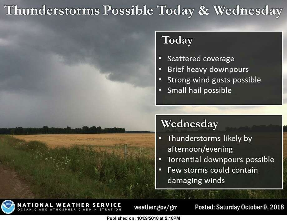 An unseasonably warm and humid air mass will fuel thunderstorms today and Wednesday, with locally heavy rain possible. Coverage of storms is expected to be much higher on Wednesday than today, with most locations getting at least some rain. A few of the storms Wednesday could also become severe. Damaging winds will be the main threat with severe storms. Photo: National Weather Service, Grand Rapids