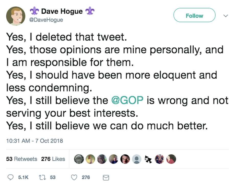 Google executive Dave Hogue shared a tweet Sunday, addressing the fact that he deleted a prior tweet attacking the GOP. Photo: Twitter Screen Grab
