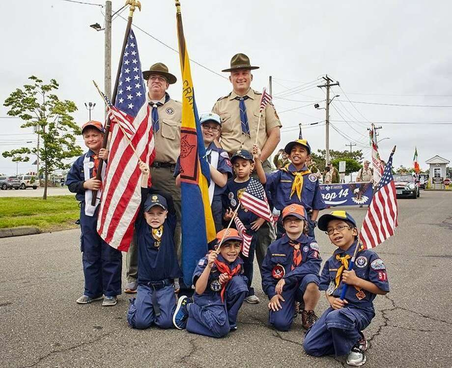 Some members of Cub Scout Pack 97 of Norwalk at the Memorial Day Parade. Photo: Contributed