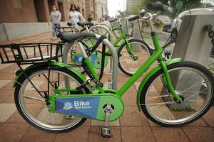 The Bike New Haven bike-sharing station outside City Hall on Church Street in New Haven, Conn. on Tuesday, October 9, 2018. Using a cellphone app, bikes can be rented on an hourly, daily, monthly, or yearly basis.