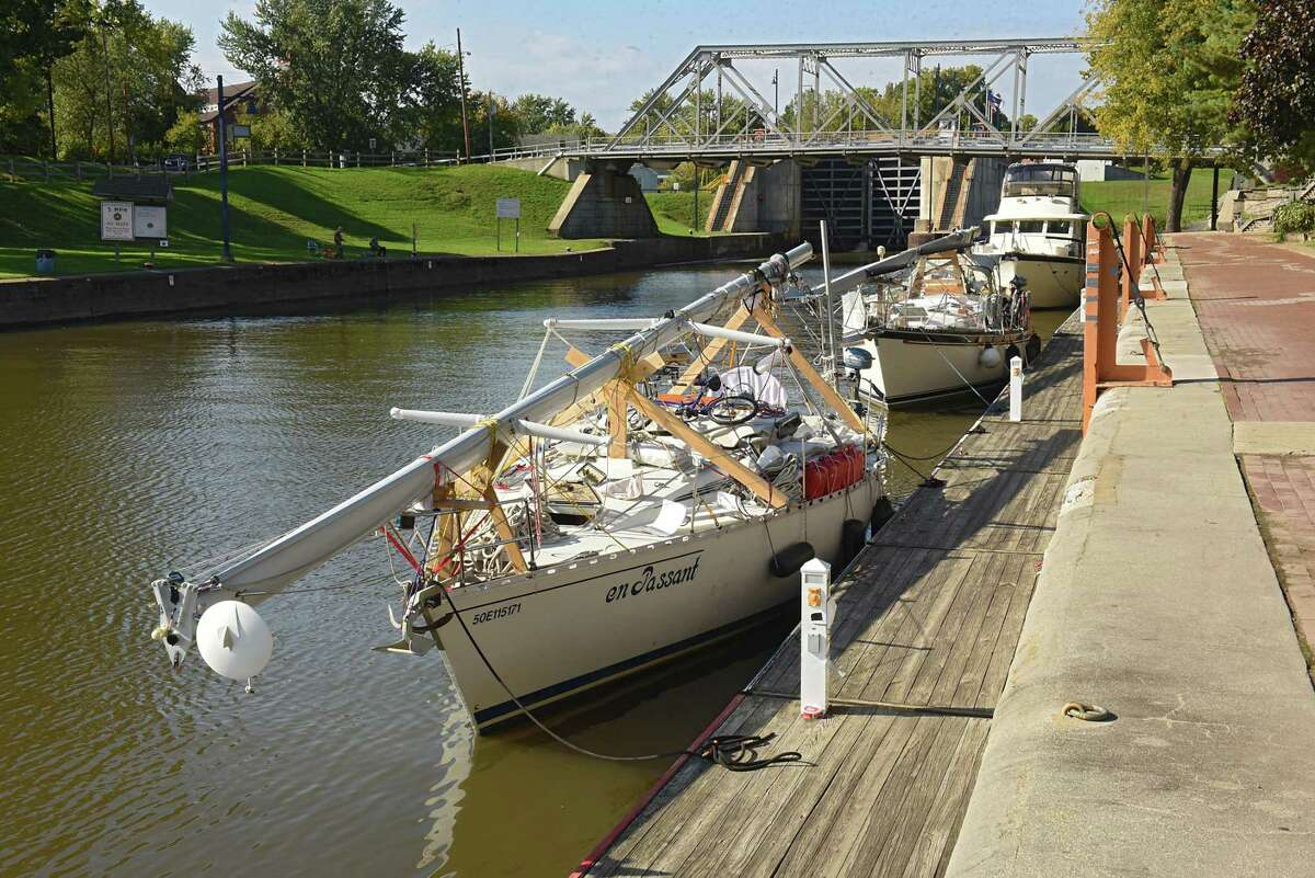Boats are seen docked at the Visitors Center as mariners make their way through locks on the New York State Canal System on Tuesday, Oct. 9, 2018 in Waterford, N.Y. Canal system closes for the season at 5pm on Wednesday. (Lori Van Buren/Times Union)