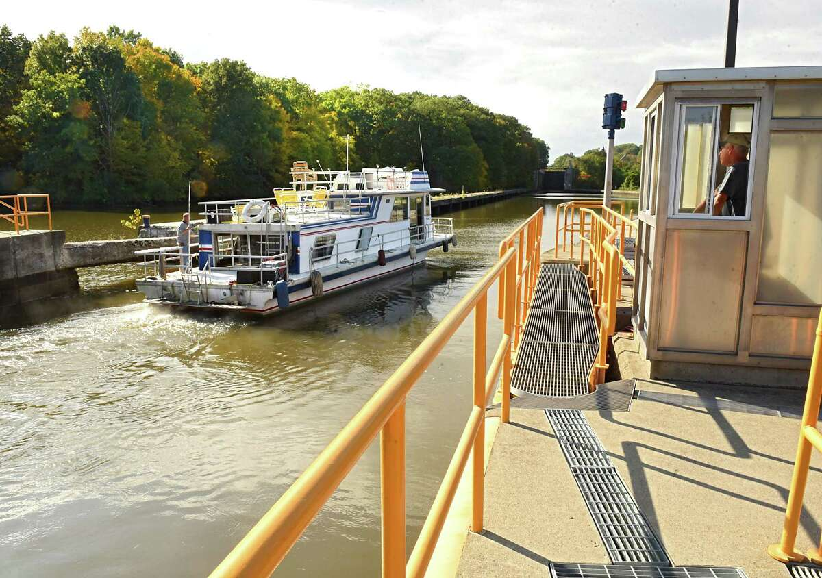 A boat is seen heading west out of Lock E5 as mariners make their way through locks on the New York State Canal System on Tuesday, Oct. 9, 2018 in Waterford, N.Y. Canal system closes for the season at 5pm on Wednesday. (Lori Van Buren/Times Union)