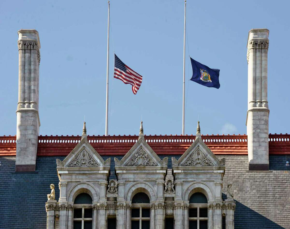 Flags at half-staff over the Capitol Tuesday Oct. 9, 2018 in Albany, NY. (John Carl D'Annibale/Times Union)