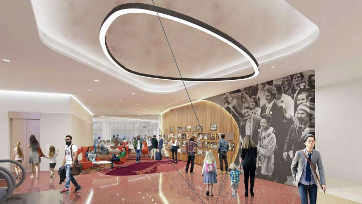 Rendering of the central gallery-like inglenook that will be the focal point of the Harvey Milk commemoration
