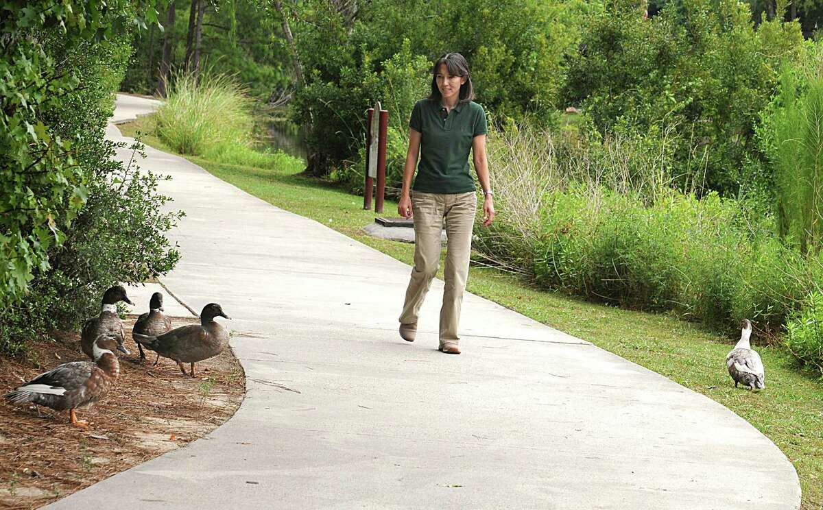 Jill Tagudin watches the ducks as she walks on the bike path at Cypress Lake. She is responsible for having a Caution Duck Crossing sign placed on Alden Bridge near the lake. She is hoping to get more signs placed around The Woodlands to protect ducks as they cross busy streets.