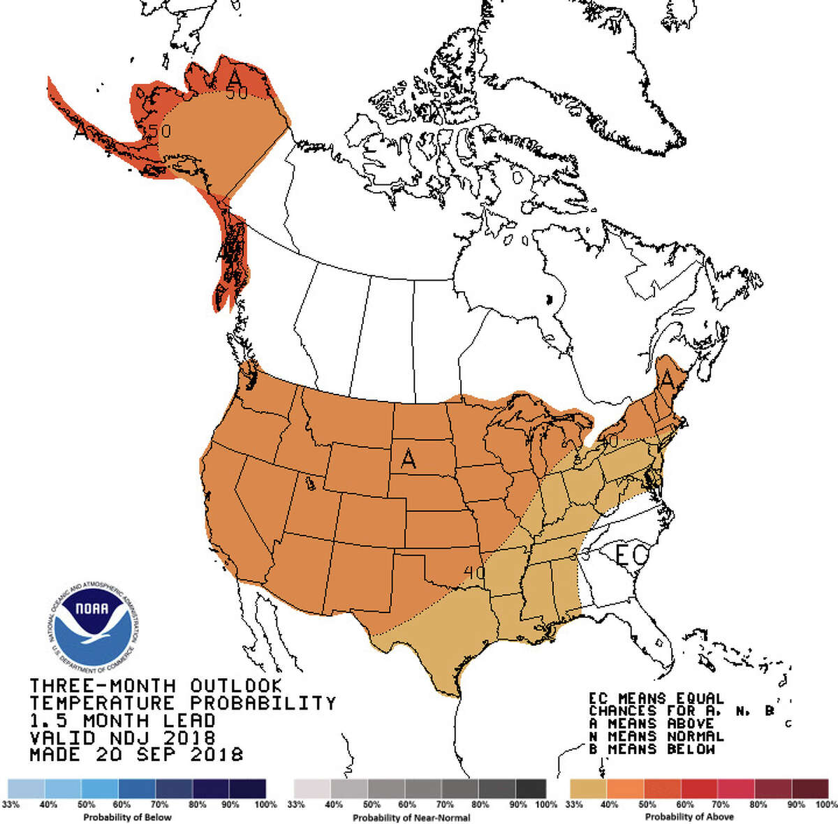 NOAA's three-month outlook has most of the U.S. at 30 percent or better chance of warmer-than-normal temperatures from November through January.