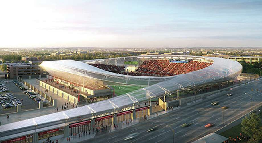 An architect rendering of a Major League Soccer soccer stadium that was proposed for downtown St. Louis that was defeated by city voters. A new effort to land an MLS franchise that would play in a stadium on the same site has been announced. Photo: HOK