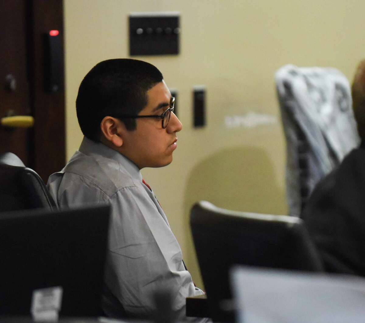Jonathan Perales, who is accused of the capital murder death of ?Michael Clayton? Robinson, who was a physician's assistant in Universal City, sits in the courtroom of Judge Melisa Skinner on Tuesday, Oct. 9, 2018.