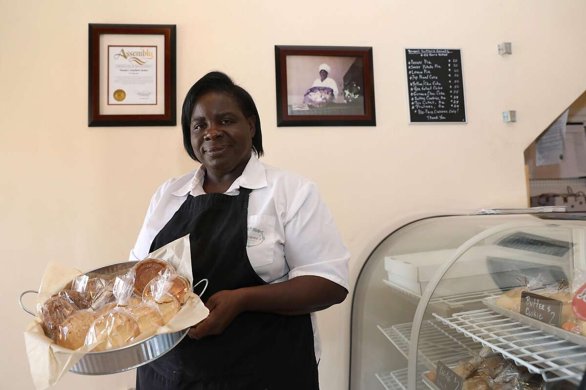 Yvonne Hines, owner of Yvonne's Southern Sweets, poses for a portrait in her shop, located at 5128 Third St., in San Francisco, Calif., on Tuesday, October 9, 2018. The small business, known for its butter cookies and pies, is less than two miles from the Warriors� forthcoming Chase Arena.