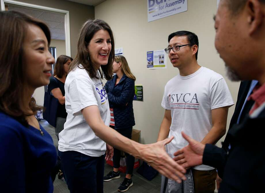 Assemblywoman Catharine Baker greets supporters at her campaign headquarters in San Ramon, Calif. on Saturday, Sept. 29, 2018. The incumbent Republican is facing a challenge for her 16th District seat from Democratic candidate Rebecca Bauer-Kahan. Photo: Paul Chinn / The Chronicle