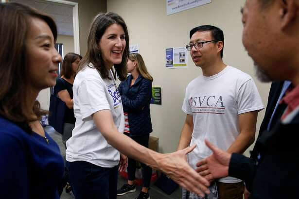 Assemblywoman Catharine Baker greets supporters at her campaign headquarters in San Ramon, Calif. on Saturday, Sept. 29, 2018. The incumbent Republican is facing a challenge for her 16th District seat from Democratic candidate Rebecca Bauer-Kahan.