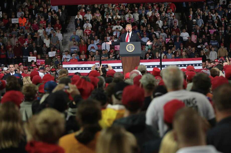 President Donald Trump speaks to supporters during a rally in Topeka, Kan. Folks in Trump Country as concerned about victims of sexual assault as people anywhere else. But they shake their heads over what happened to Brett Kavanaugh. Photo: Scott Olson / Getty Images / 2018 Getty Images