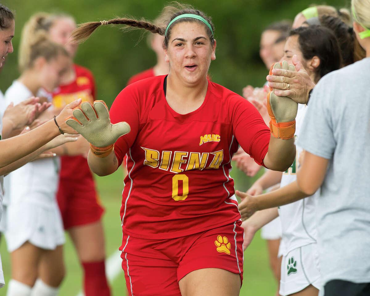 Siena College women's soccer goaltender Taylor Dorado.
