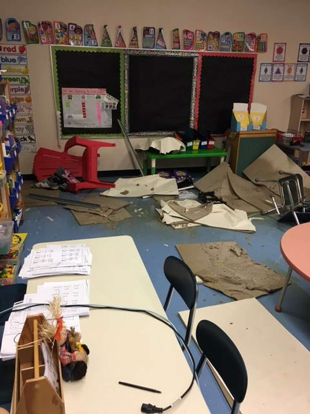 A classroom that was damaged after a broken pipe caused flooding over the weekend.
