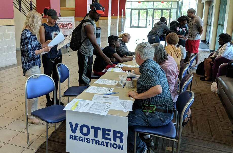 PHOTOS: See the Texas races to watch out for during this November Midterm...  Prairie View A&M University students register to vote on Tuesday, the deadline to be able to cast a vote in the November election in Texas. Photo: Matt Dempsey, Staff / © 2018 Houston Chronicle