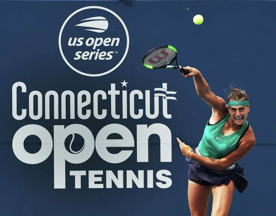 Aryna Sabalenka serves to Carla Suarez Navarro during the Connecticut Open championship on Aug. 25 at the Connecticut Tennis Center at Yale in New Haven. Sabalenka won, 6-1, 6-4. Photo: Catherine Avalone / Hearst Connecticut Media / New Haven RegisterThe Middletown Press