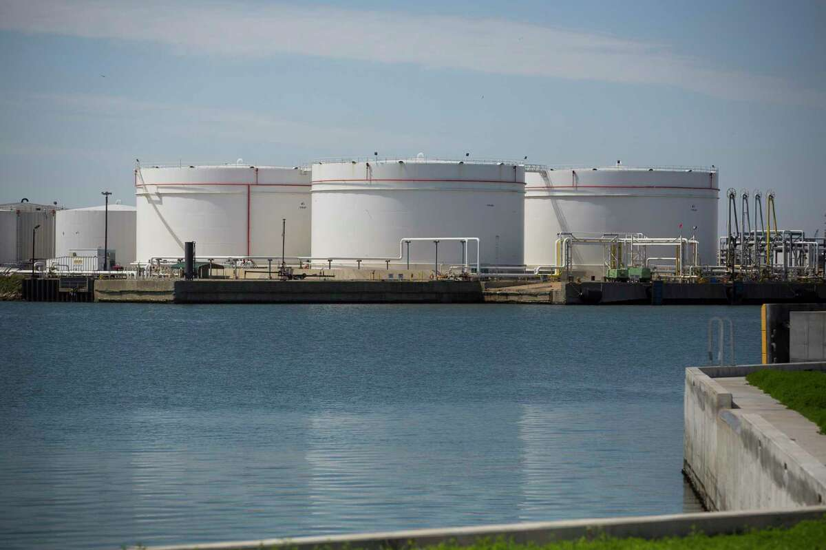 Oil storage tanks at the Port of Corpus Christi. Tanks in the U.S. are nearing capacity as the glut of oil continues to worsen.