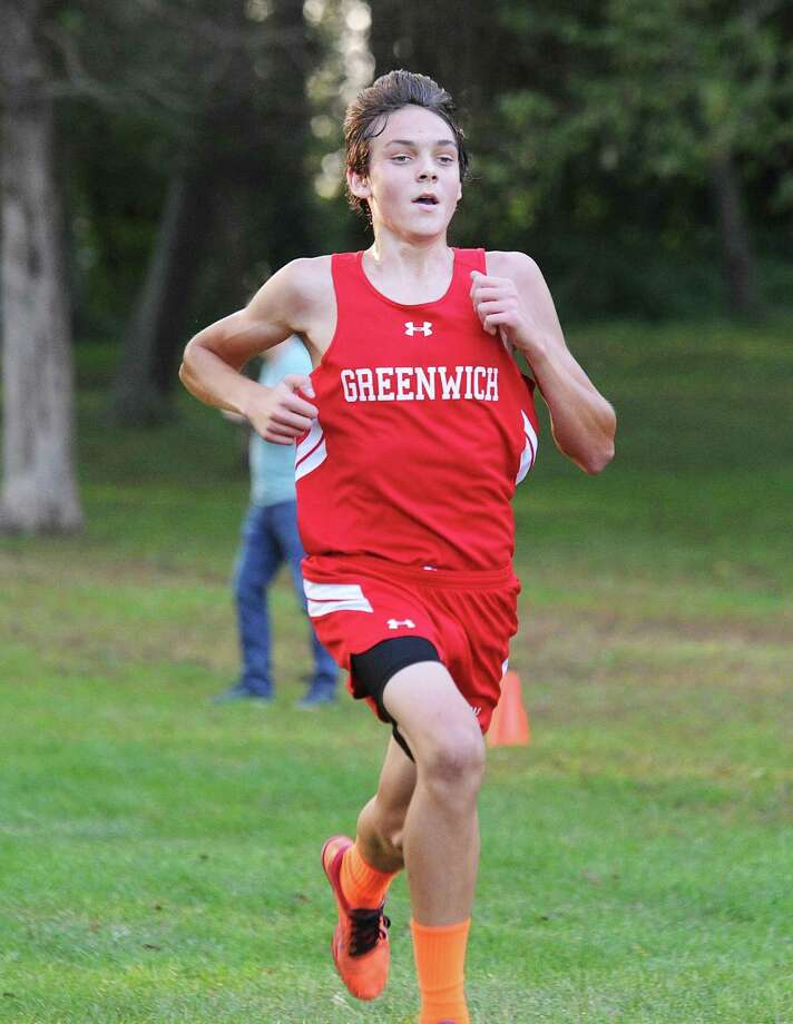 Greenwich's Alexander Kosyakov finished first in Tuesday's cross country meet at Greenwich Point. Photo: Bob Luckey Jr. / Hearst Connecticut Media / Greenwich Time