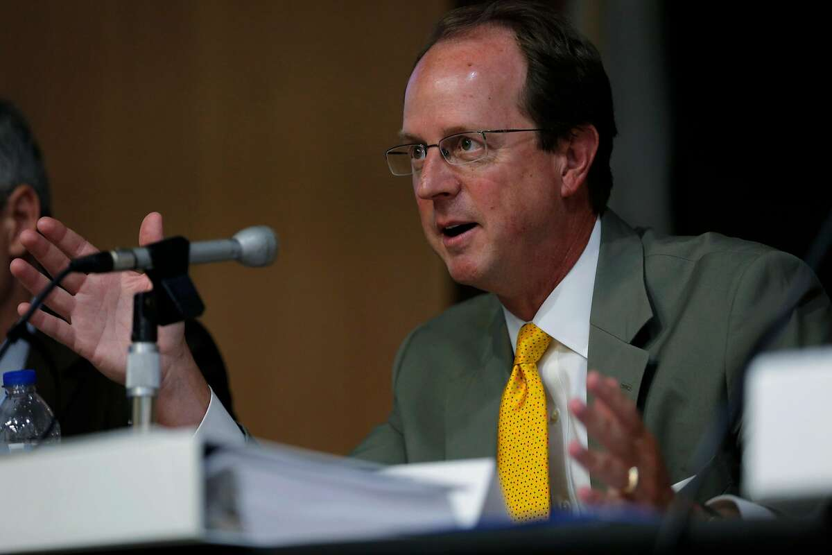 Steve Heminger, executive director of Bay Area Toll Authority, speaks during a meeting of the Toll Bridge Program Oversight Committee at the California Department of Transportation in Sacramento, California, on Thursday, Sept. 24, 2015.