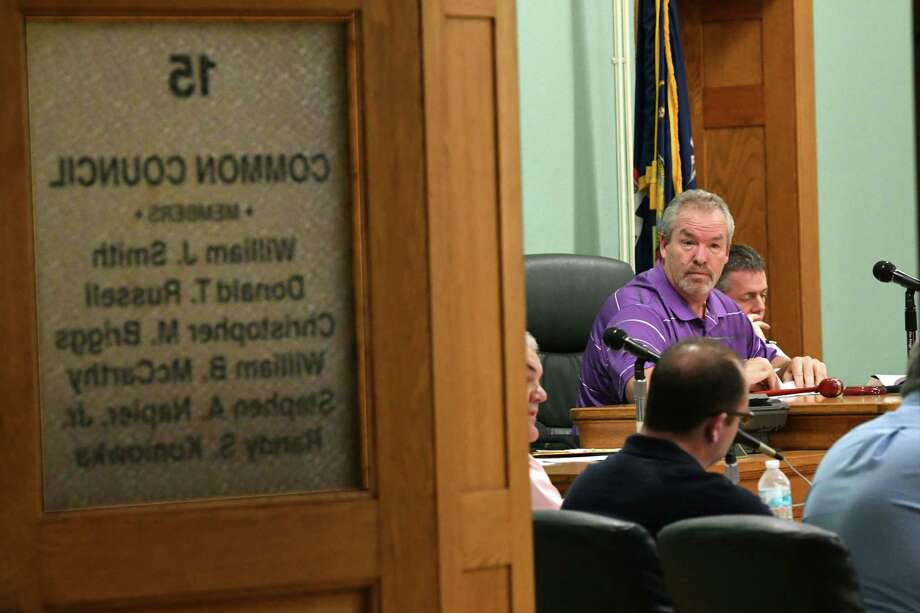 Mayor Shawn Morse leads a Cohoes Common Council meeting at Cohoes City Hall on Tuesday, Oct. 9, 2018 in Cohoes, N.Y. (Lori Van Buren/Times Union) Photo: Lori Van Buren, Albany Times Union / 20045066A
