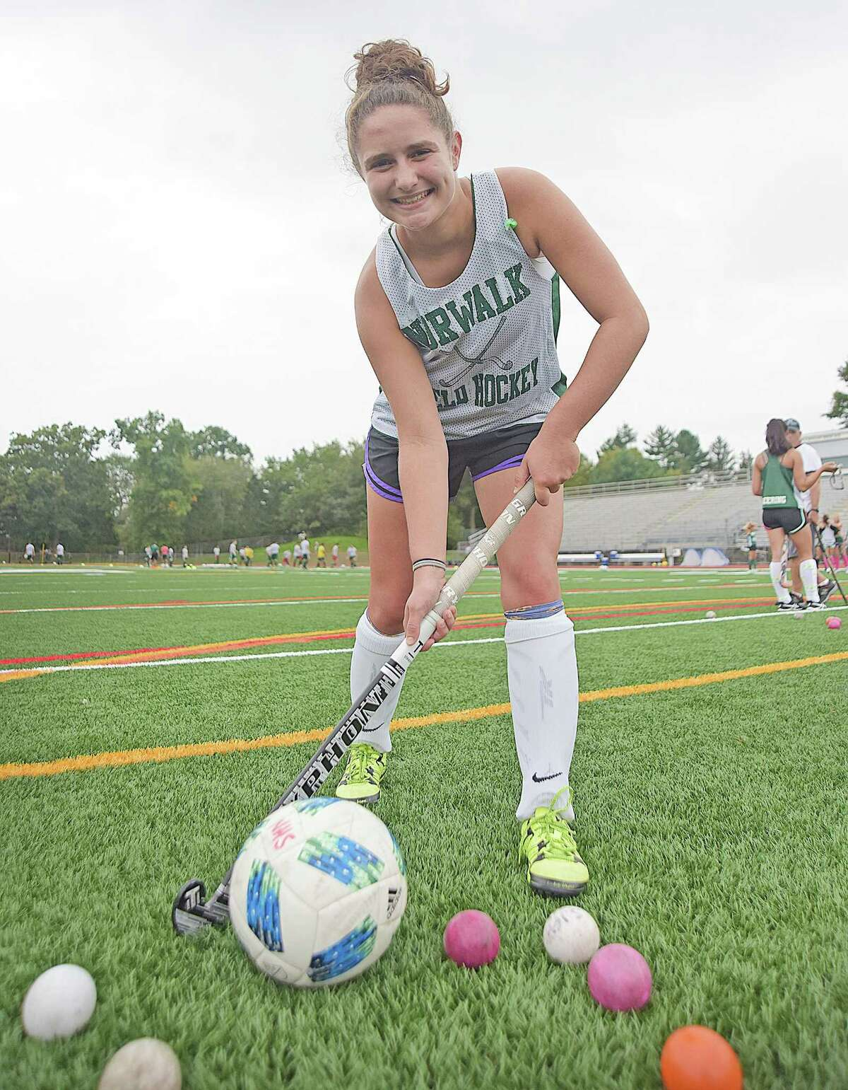 Norwalk High senior Julia Sferlazza made the rare switch from soccer to field hockey without ever having played the latter sport until this season. Now she's a starter on one of the most successful teams in the FCIAC.
