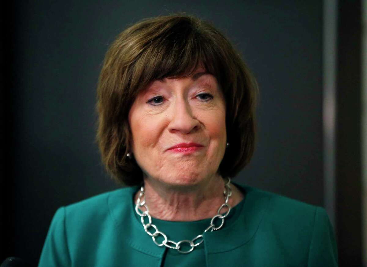 In this Sept. 21, 2018 photo, Sen. Susan Collins, R-Maine, speaks to news media at Saint Anselm College, in Manchester, N.H. Collins is not on the ballot this fall, yet the fight over Susan Collins?' political future is already raging. Interest in the Maine Republican senator?'s 2020 re-election has exploded in the days since she cast the deciding vote to confirm President Donald Trump?'s Supreme Court pick. (AP Photo/Elise Amendola)