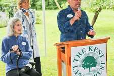 The Kent Land Trust held its fall benefit cocktail party Sept. 8 on the grounds of Bob Avian and Peter Pileskis North Kent residence. Above, Honorary Event Chair Nancy Kissinger and KLT Board Chair Jane Klein listen as host Bob Avian delights guests with welcoming remarks.