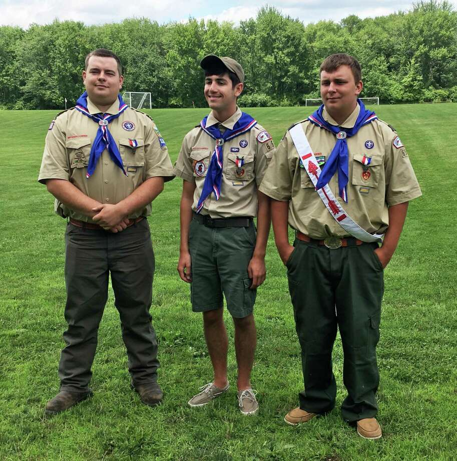 Three members of Bridgewater-Roxbury-Washington Boy Scout Troop 65 recently attained the rank of Eagle Scout. The members are, from left to right, Dakota Wilson, John daFonte and Hunter Wilson. The boys received their rank during a special Court of Honor held in July at the Town of Bridgewater Parks and Recreation pavilion. Photo: Courtesy Of Julie McKay / The News-Times Contributed
