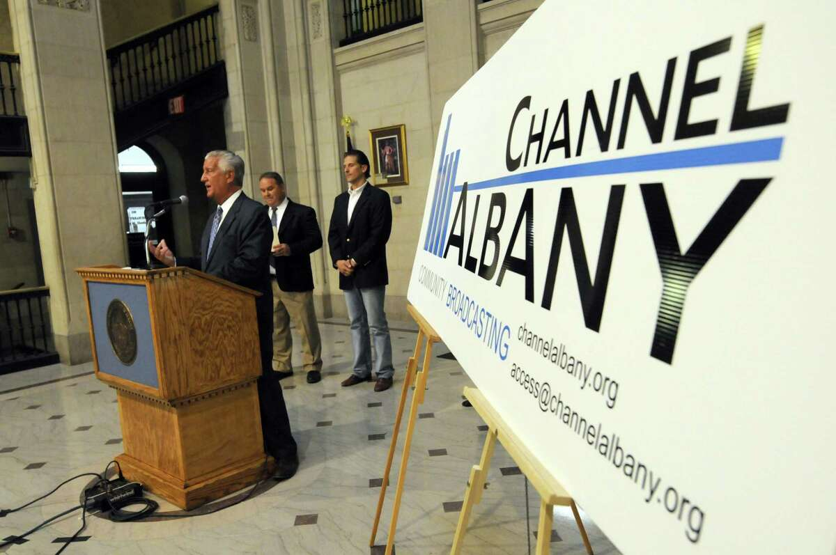 Mayor Gerald D. Jennings, left, announces the opening of Channel Albany Community Broadcasting during a press conference at City Hall in Albany N.Y. Wednesday July 11, 2012. (Michael P. Farrell/Times Union)