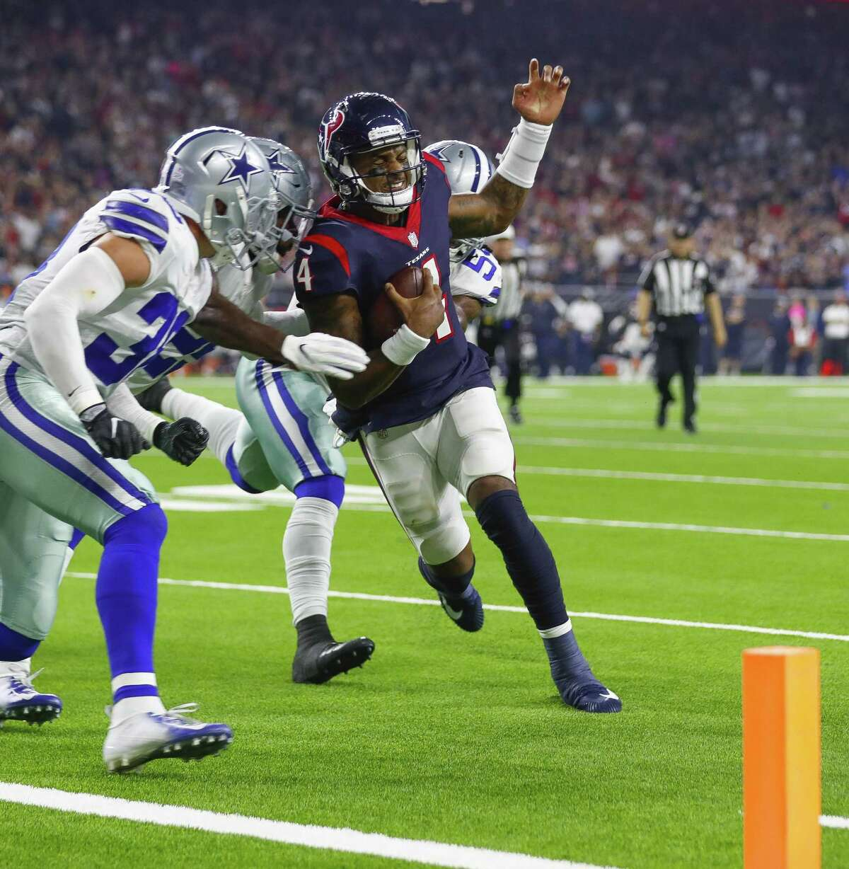 Texans quarterback Deshaun Watson pays a physical price for taking on defenses as a ballcarrier, leaving him day-to-day with a chest injury leading up to the Bills game Sunday at NRG Stadium.