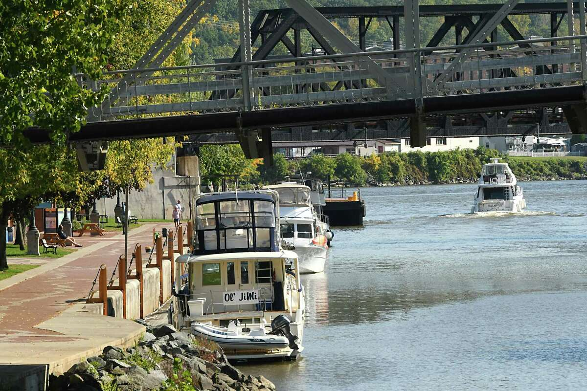 A boat takes off southeast from the Visitors Center as mariners make their way through locks on the New York State Canal System on Tuesday, Oct. 9, 2018 in Waterford, N.Y. Canal system closes for the season at 5pm on Wednesday. (Lori Van Buren/Times Union)