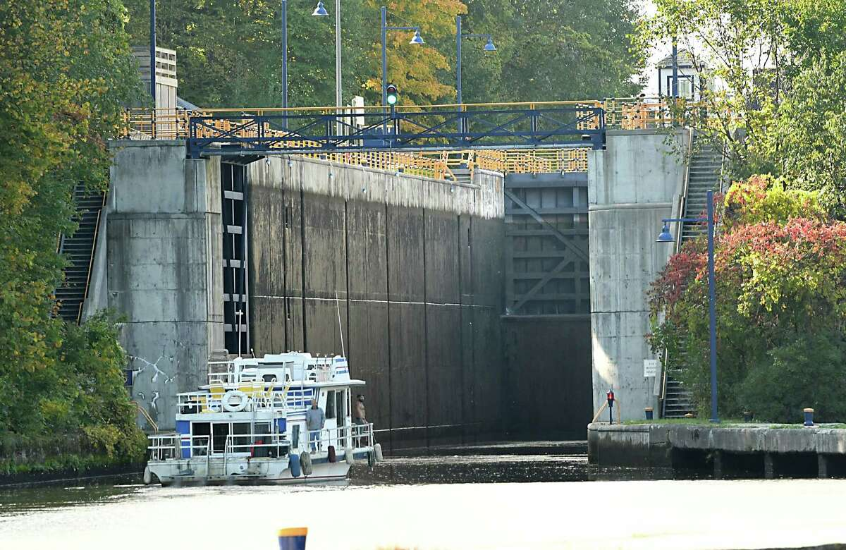 A boat is seen heading west into Lock E4 as mariners make their way through locks on the New York State Canal System on Tuesday, Oct. 9, 2018 in Waterford, N.Y. Canal system closes for the season at 5pm on Wednesday. (Lori Van Buren/Times Union)