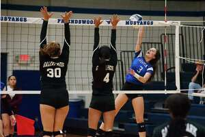 Friendswood's Kate Bueche (3) tries to angle a shot past Galena Park's Destiny Morales (30) and Natalie Macias (14) Tuesday at Friendswood High School.