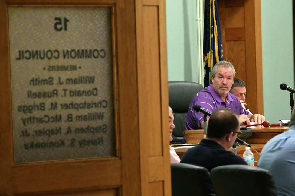 Mayor Shawn Morse leads a Cohoes Common Council meeting at Cohoes City Hall on Tuesday, Oct. 9, 2018 in Cohoes, N.Y. (Lori Van Buren/Times Union)